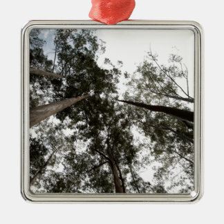 Trees rising high in the sky square metal christmas ornament