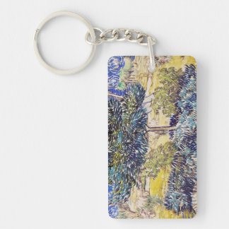 Trees Shrubs Asylum Garden Vincent Van Gogh Double-Sided Rectangular Acrylic Keychain