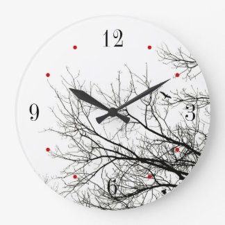 Trees Silhouette Black and White Wall Clock