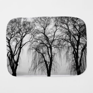 Trees silhouettes in winter burp cloth