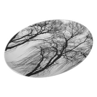 Trees silhouettes in winter dinner plate