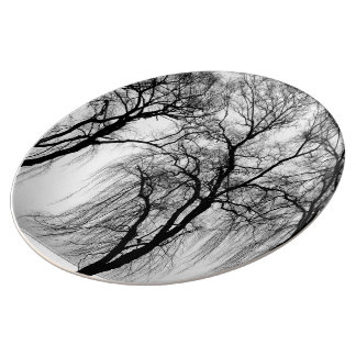 Trees silhouettes in winter porcelain plate