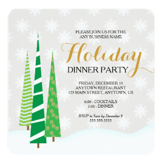 Trees & Snowflakes Business Holiday Dinner Party Card