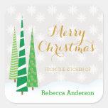 Trees & Snowflakes Merry Christmas Baking Square Sticker