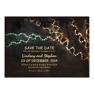 Trees & string of lights rustic save the date card