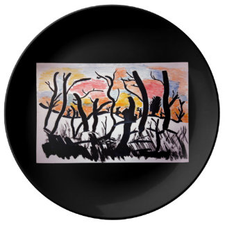 Trees Sunrise Ink Drawing Porcelain Plate