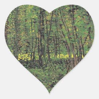 Trees & Undergrowth by Van Gogh Heart Sticker