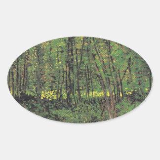 Trees & Undergrowth by Van Gogh Oval Sticker