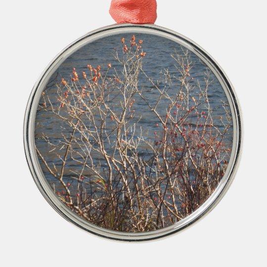 Trees & water scenery metal ornament