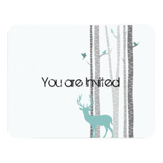 Trees with Deer Baby Shower 4.25x5.5 Paper Invitation Card