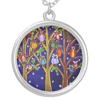 Trees With Funky Owls Necklace