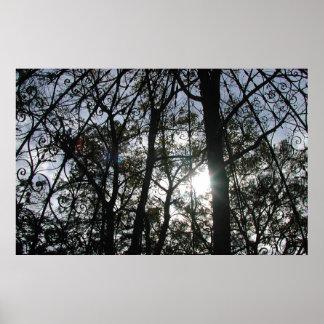 Trees with Gazebo & Sun - Poster