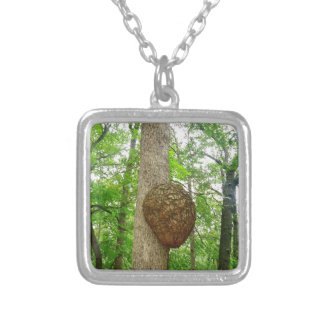 Trees with Large enclosed Bee Wasp Hive Silver Plated Necklace