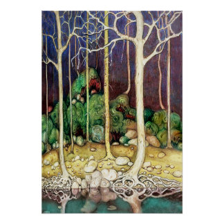 Trees with Roots in the Lake Poster