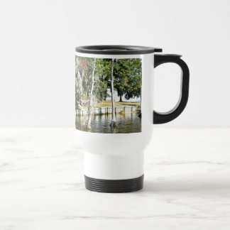 Trees with Spanish Moss, growing in water Travel Mug
