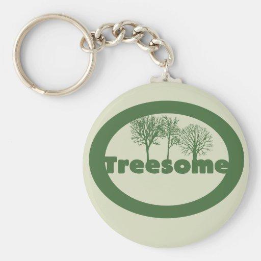 Treesome Basic Round Button Keychain