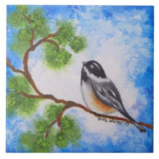 Treetop Chickadee Bird Ceramic Tile Coaster Trivet