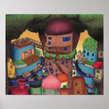 Fantasy Village Art Wall Decor Zazzle