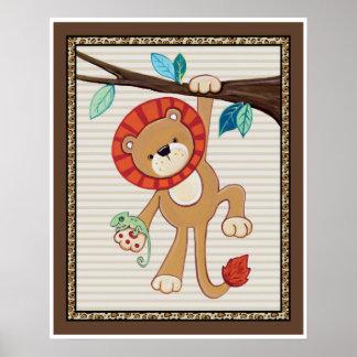 Treetop Jungle Buddies. Lion Nursery Art Poster
