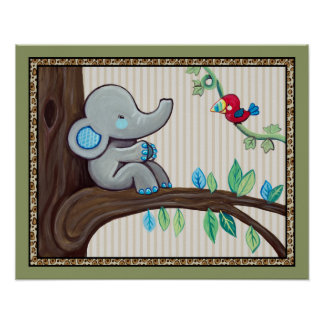 Treetop Jungle Buddies.Little Elephant Nursery Art Poster