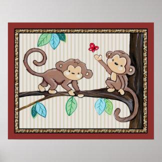 Treetop Jungle Buddies. Monkey Nursery Art Poster