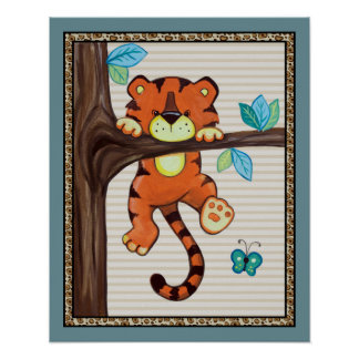 Treetop Jungle Buddies. Tiger Nursery Art Poster