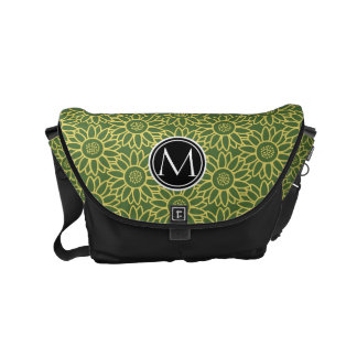 Treetop Sunflower Personalized Monogram Small Messenger Bag