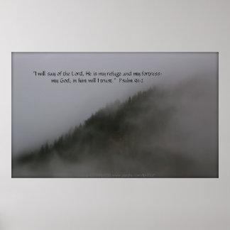 Treetops in Fog Print w/Scripture Verse