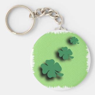 Trefoil symbol irish on the green background basic round button keychain