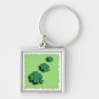 Trefoil symbol irish on the green background Silver-Colored square keychain