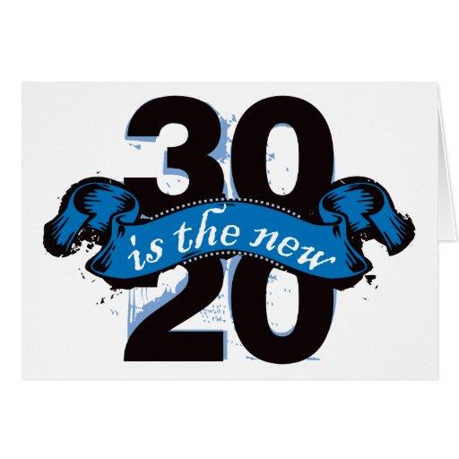 Treinta es los nuevos veinte - azul tarjeta de felicitación