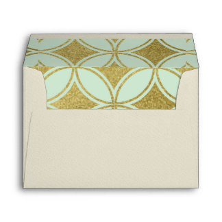 trellis,big,gold,mint,trendy,modern,70's,pattern,f envelope