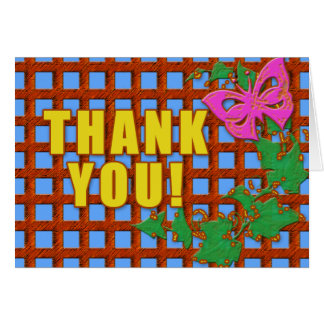 Trellis, Butterfly and Leaves Thank You Cards