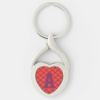 Trellis Diamond Pattern Monogram Silver-Colored Heart-Shaped Metal Keychain
