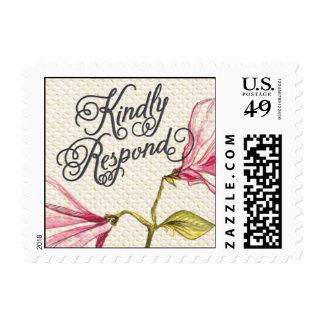 Trellis - Kindly Respond - 4C - Pink Postage Stamp
