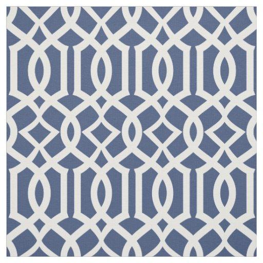Trellis Lattice Navy Blue Elegant Pattern Fabric Zazzle Com