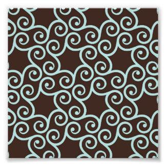 Trellis,mint,black,scroll,pattern,chic,elegant Photo Print