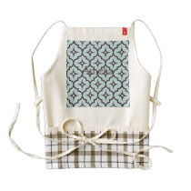 Trellis,moroccan,pattern,blue,brown,trendy,chic, Zazzle HEART Apron