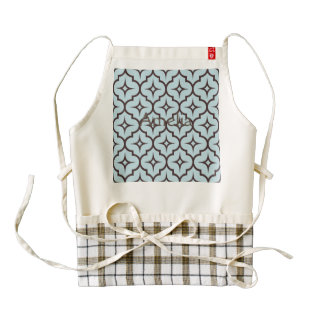 Trellis,moroccan,pattern,blue,brown,trendy,chic, Zazzle HEART Apron