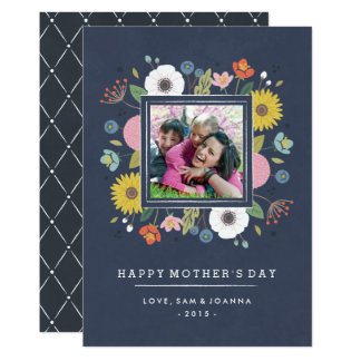 Trellis Mother's Day Card - Navy