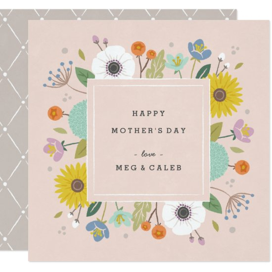 Trellis Non-Photo Mother's Day Card - Blush