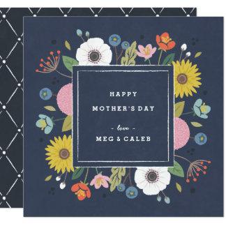 Trellis Non-Photo Mother's Day Card - Navy