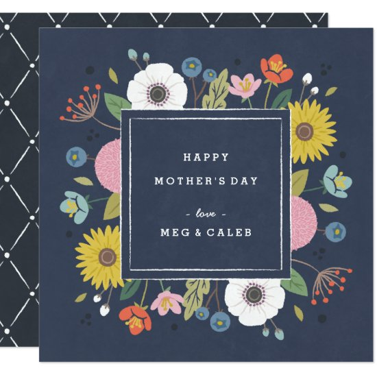 Trellis Non-Photo Mother's Day Card - Navy