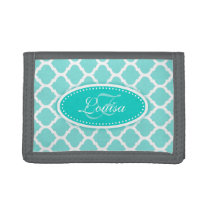 Trellis patterned aqua mint add your name trifold wallet