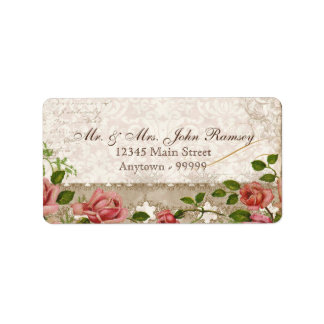 Trellis Rose Vintage Card Mailing Address Label