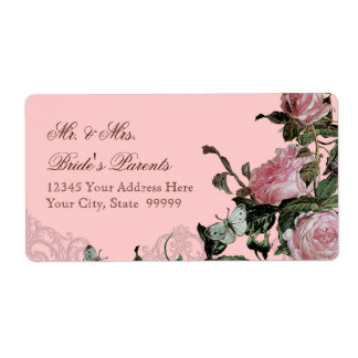 Trellis Rose Vintage Pink Roses Butterfly Swirls Label