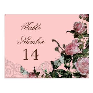 Trellis Rose Vintage - Reception Table Number Card Postcard