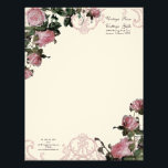 """Trellis Rose Vintage Swirl Stationery Letterhead<br><div class=""""desc"""">This is set up for beautiful Business stationery stationary letter head, but it can also be changed to personal use for brides bridal correspondence to match the Vintage Rose invitation set. It features an elegant etching of an antique iron elements and a vintage English roses in beautiful pink shades. This...</div>"""