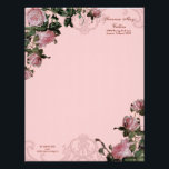 """Trellis Rose Vintage Swirl Stationery Letterhead<br><div class=""""desc"""">This is set up for personal use for brides beautiful bridal correspondence but it can also be changed to Business stationery stationary letter head. This design matches the Vintage Rose Trellis invitation set. It features an elegant etching of an antique iron elements and a vintage English roses in beautiful pink...</div>"""