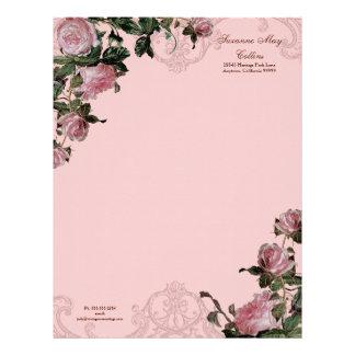 Trellis Rose Vintage Swirl Stationery Letterhead